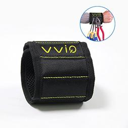Magnetic Wristband, QIVV Adjustable Black Wrist Band with St