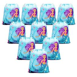 BeeGreen Mermaid Party Supplies Bags for Kids Girls Boys,10