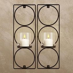 Set Of 2 Metal Wall Sconces Sarah Peyton Hanging Candle Hold