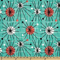 Michael Miller Mid-Century Modern Atomic Turquoise Fabric By