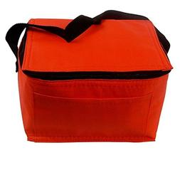 Nylon Insulated Lunch Box Tote, Foil Lined - Red.