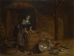 Oil Painting 'Pieter Van Den Bosch A Woman Scouring A Pot '