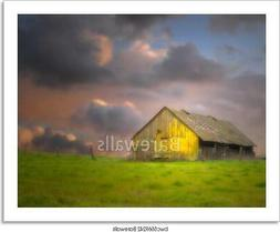 Old Barn Under Dark Skies Art/Canvas Print. Poster, Wall Art