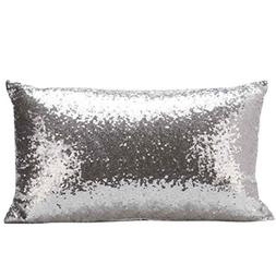 GBSELL Pillow Cover Glitter Sequins Rectangle Throw Pillow C