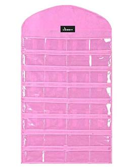 Misslo Pink Jewelry Hanging Non-woven Organizer Holder 32 Po