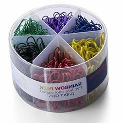 Officemate PVC Free Color Coated Paper Clips, 450 Per Tub Of