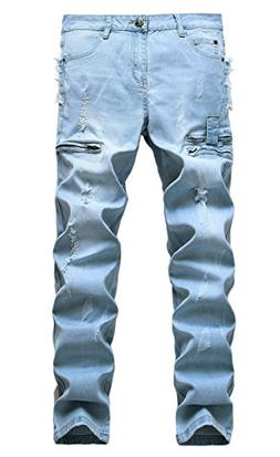 Men's Ripped Straight Fit Stretch Jeans