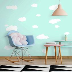 RoomMates RMK1562SCS Clouds White Bkgnd Peel and Stick Wall