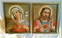 Sacred Hearts Framed Prints under Glass Old New Stock 8 x 10