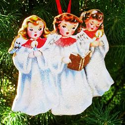 Singing Angel Trio Ornament Handcrafted Wooden Christmas Dec