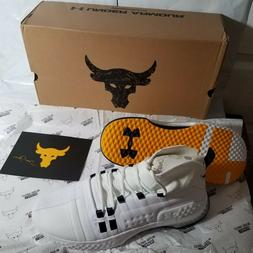 Size 10 Mens Under Armour Project Rock 1 White Gold 3020788-