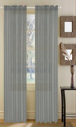 2 Piece Solid Grey/Gray Sheer Curtains Panels Window Treatme