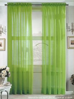 2 Piece Solid Lime Green Sheer Curtains Fully Stitched Panel