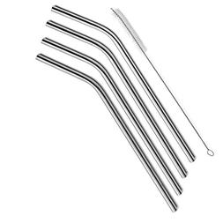 SipWell Stainless Steel Drinking Straws, Set of 4, Free Clea