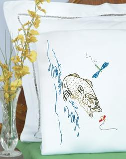 Stamped Pillowcases with White Lace Edge, 2pk