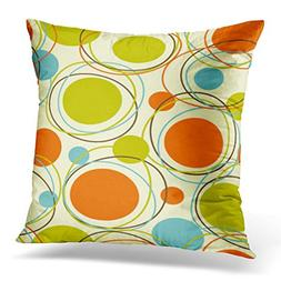 Emvency Throw Pillow Cover Colorful 1950S Retro Abstract Mid