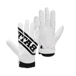 Battle Ultra-Stick Receiver Gloves, Youth X-Large - White/Wh