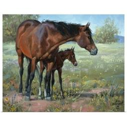 Under Mama's Watchful Eye Poster Art Print, Horse Home Decor