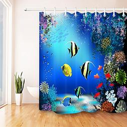 LB Underwater Bathroom Curtain for Shower Stall,Colorful Cor