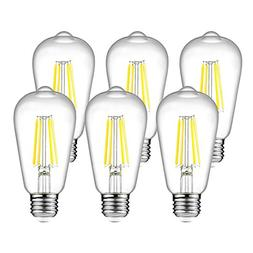 Ascher Vintage LED Edison Bulbs, 6W, Equivalent 60W, 800lm,