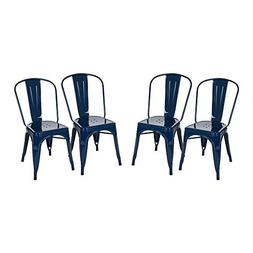 Glitzhome Vintage Stackable Metal Side Chairs Light Navy Blu