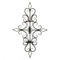 Wall Sconce Old World Design Flourished w/ Hurricane Glass P
