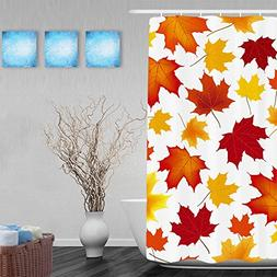 Tendy Welcome Fall Maple Leaves Decorative Polyester Shower