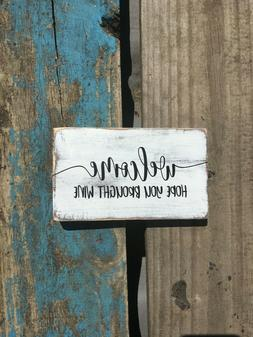 Welcome wooden sign. wood decor. Great gifts under 10. Black