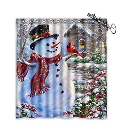 Winter Holiday Merry Christmas Happy Snowman and Cardinals S