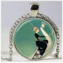 Art Deco Jewelry Woman on White Peacock Green Peacock Neckla