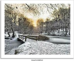 Wooden Bridge Under Snow Art/Canvas Print. Poster, Wall Art,