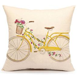 Yellow Bicycle Throw Pillow Cover Vintage Home Decorative Cu